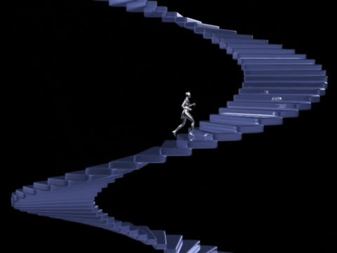 WS TS CGI Silver computerized figure running up spiral stairs