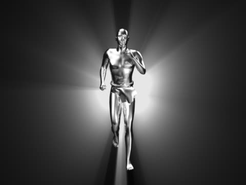 ws cgi silver computerized figure running  - male likeness stock videos & royalty-free footage