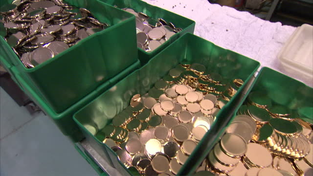 MS PAN Silver, gold and brass coins in trays / Dayton, Nevada, United States
