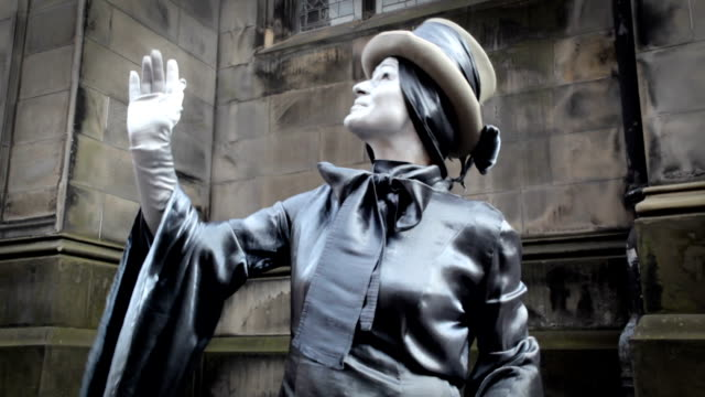 silver lady and your imagination - mime artist stock videos & royalty-free footage