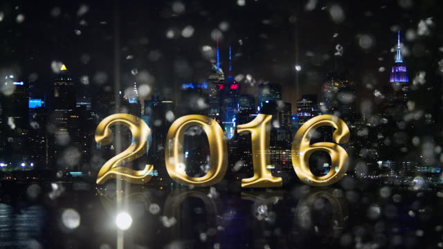 Silver snow glitter New York skyline Fireworks 2016 countdown