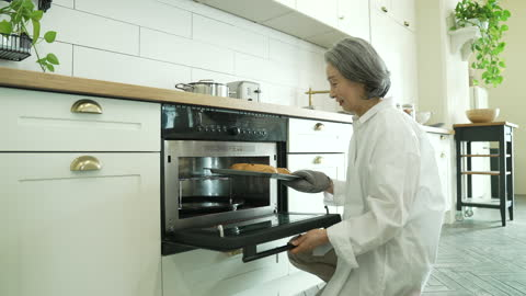 silver surfer generation - old woman opening oven and taking bread out - silver surfer stock videos & royalty-free footage