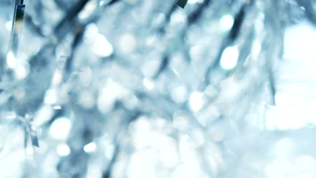 silver tinsel detail - tinsel stock videos & royalty-free footage