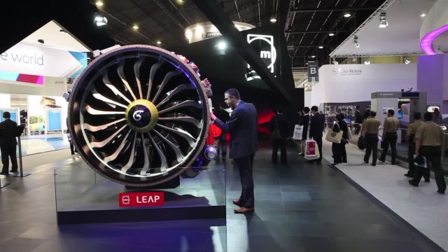 a silvercrest aircraft engine displayed at the safran sa stand on the first day of the paris air show in paris visitors look at a leap aircraft... - general electric stock videos and b-roll footage