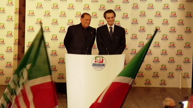 Silvio Berlusconi speaking at an event in Milan Italy