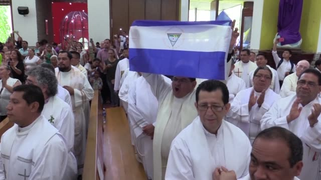 silvio jose baez ortega the auxiliary bishop of the archdiocese of managua takes part in the holy thursday mass at the metropolitan cathedral of... - managua stock videos & royalty-free footage