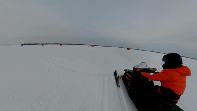simcoe lake snowmobile ,ontario, canada . - sledge stock videos & royalty-free footage