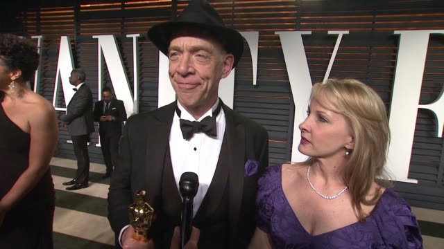 k simmons at the 2015 vanity fair oscar party hosted by graydon carter at the wallis annenberg center for the performing arts on february 22 2015 in... - wallis annenberg center for the performing arts stock videos and b-roll footage