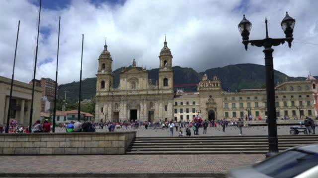 simon bolivar square in bogota colombia - bogota stock videos & royalty-free footage