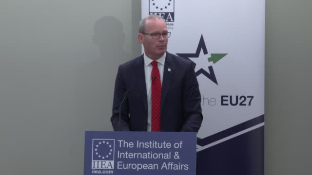 simon coveney irish foreign minister says about the brexit deal says ireland is being asked to replace legal certainty around uk red lines - 2016 european union referendum stock videos & royalty-free footage