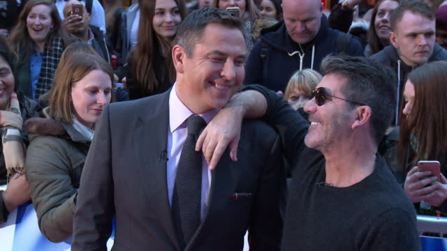 simon cowell david walliams at britain's got talent photocall at birmingham hippodrome on february 04 2016 in birmingham england - photo call stock videos & royalty-free footage
