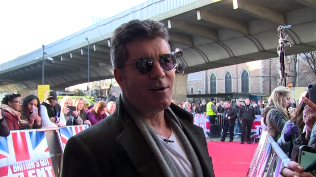 interview simon cowell on contestants and the 'new simon cowell' at britain's got talent' arrivals - spielkandidat stock-videos und b-roll-filmmaterial