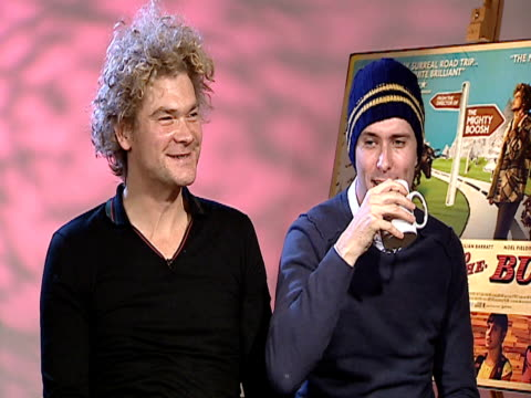 simon farnaby & edward hogg on working together. they had a 'chemistry audition' to see if they would get on. at the bunny & the bull interviews at... - chemistry点の映像素材/bロール