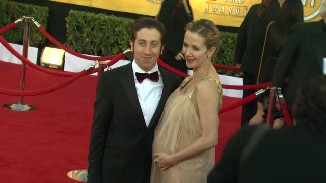 simon helberg jocelyn towne at 18th annual screen actors guild awards arrivals on 1/29/12 in los angeles ca - simon helberg stock videos and b-roll footage