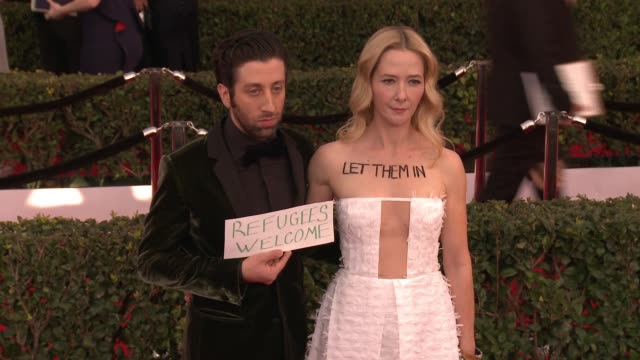 simon helberg jocelyn towne at 23rd annual screen actors guild awards arrivals in los angeles ca - simon helberg stock videos and b-roll footage