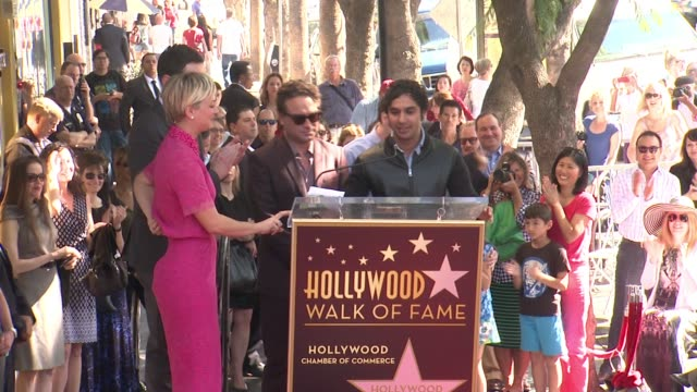 speech simon helberg kunal nayyar johnny galecki jim parsons at kaley cuoco honored with star on the hollywood walk of fame on october 29 2014 in... - jim parsons stock videos and b-roll footage