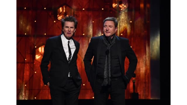 stockvideo's en b-roll-footage met simon le bon and john taylor of duran duran speak onstage at the 2019 rock roll hall of fame induction ceremony show at barclays center on march 29... - duran duran