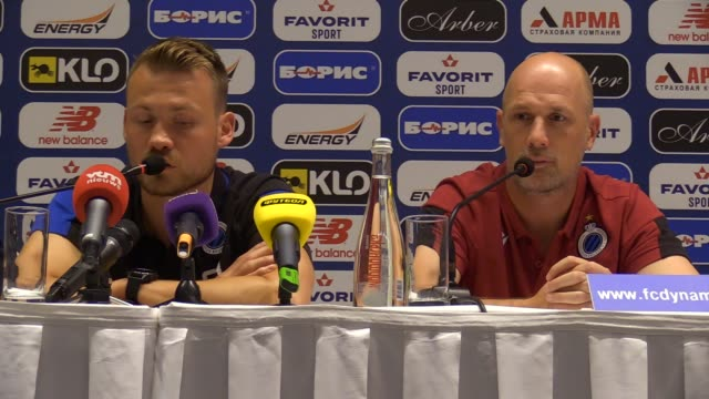 simon mignolet goalkeeper of club brugge speaks and philippe clement head coach attends a press conference in kiev ukraineon 12 august 2019 club... - uefa champions league stock videos and b-roll footage