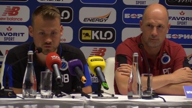 simon mignolet goalkeeper of club brugge speaks during a press conference in kiev, ukraine,on 12 august 2019. club brugge will face dynamo kyiv... - leg press stock videos & royalty-free footage