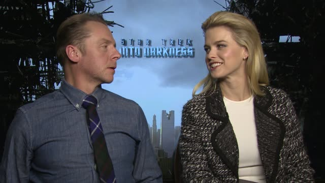 interview simon pegg alice eve on if they're interested in staring in the new 'star wars' films at 'star trek into darkness' uk junket interviews at... - simon pegg stock videos & royalty-free footage