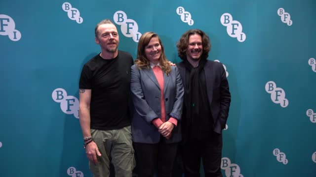 slomo simon pegg jessica hynes edgar wright attend the spaced anniversary screening at bfi southbank on january 12 2020 in london england - proiezione evento pubblicitario video stock e b–roll