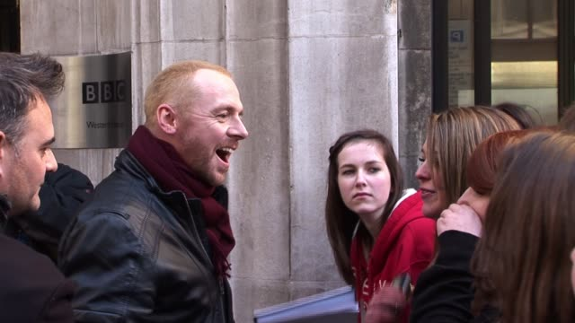 simon pegg leaves radio two after visiting the station to promote his latest movie burke hare simon pegg sighting at radio two studios on october 25... - simon pegg stock videos & royalty-free footage