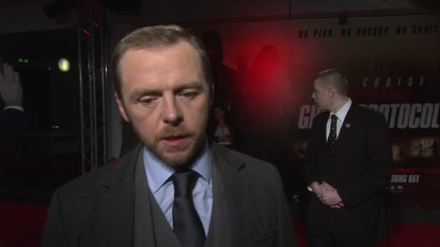 Simon Pegg on Brad Bird's timing with the script wanting to make another film at the Mission Impossible Ghost Protocol UK Premiere at BFI IMAX on...