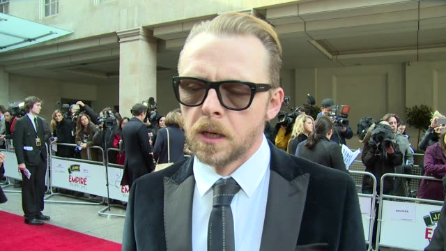 interview simon pegg on his new movie genres and romcom's at jameson empire awards on 29th march 2015 in londonengland - commedia romantica video stock e b–roll