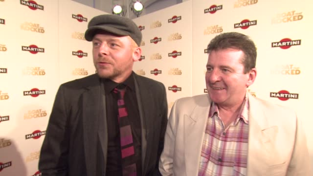 simon pegg on how much they loved the film and its authenticity at the the boat that rocked martini premiere party at london - simon pegg stock videos & royalty-free footage