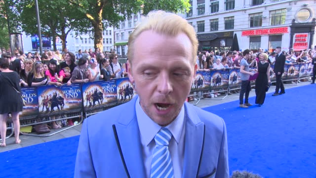 INTERVIEW Simon Pegg on pubs their success at 'The World's End' World Premiere at Empire Leicester Square on July 10 2013 in London England
