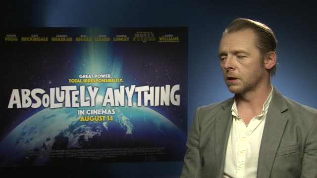 INTERVIEW Simon Pegg on Robin Williams being a part of the film working with Mojo the dog at 'Absolutely Anything' Interview at Soho Hotel on June 08...