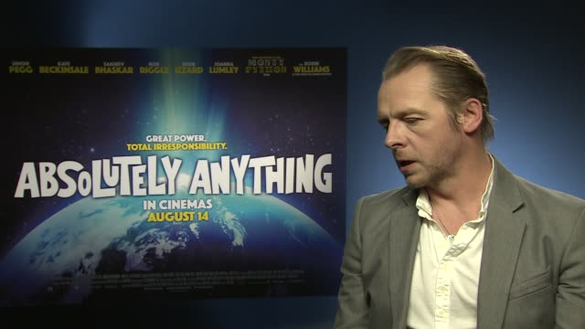 INTERVIEW Simon Pegg on Star Wars/Star Trek and the interest in sci fi at 'Absolutely Anything' Interview at Soho Hotel on June 08 2015 in London...