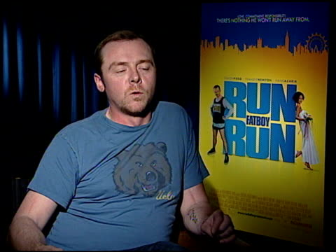 simon pegg on thandie newton as the onset prankster at the 'run fatboy run' press junket at the four seasons hotel in los angeles california on march... - simon pegg stock videos & royalty-free footage