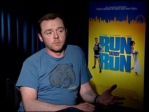 Simon Pegg on the best part of working on the film at the 'Run Fatboy Run' Press Junket at the Four Seasons Hotel in Los Angeles California on March...
