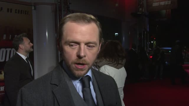 Simon Pegg on the hardest thing making the film Dubai being gifted by Tom Cruise at the Mission Impossible Ghost Protocol UK Premiere at BFI IMAX on...