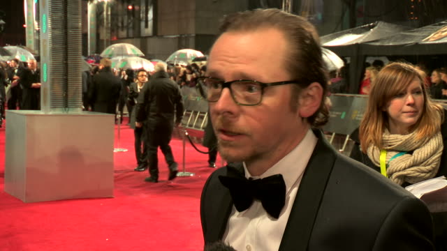 INTERVIEW Simon Pegg on the next Star Wars being at the awards who he thinks will win at EE British Academy Film Awards 2013 Red Carpet Arrivals at...