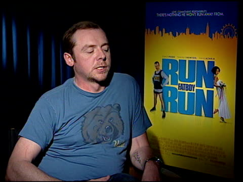 simon pegg on working with david schwimmer as a director at the 'run fatboy run' press junket at the four seasons hotel in los angeles california on... - simon pegg stock videos & royalty-free footage
