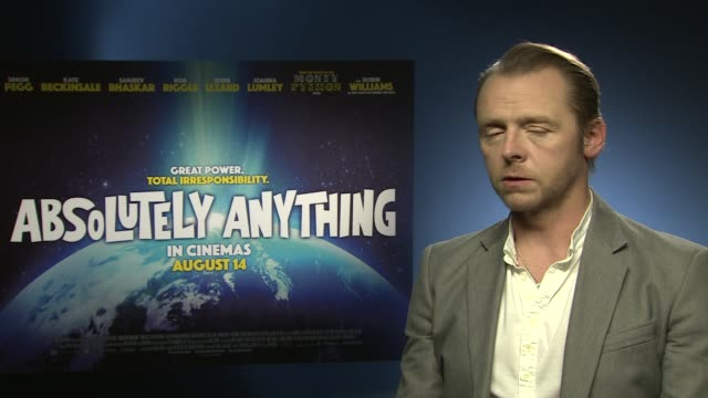 interview simon pegg on working with the monty python team at 'absolutely anything' interview at soho hotel on june 08 2015 in london england - monty python stock-videos und b-roll-filmmaterial