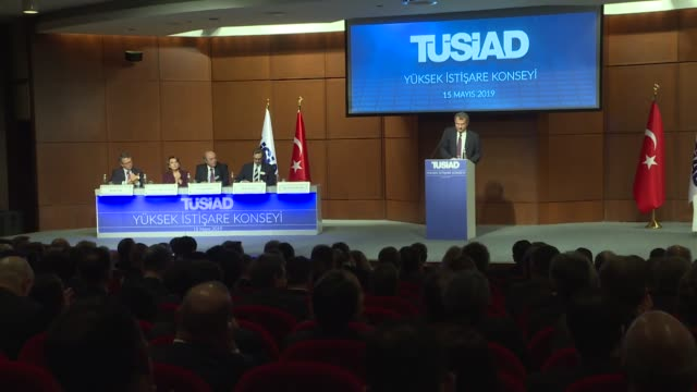 Simone Kaslowski the head of Turkish Industry and Business Association speaks at the TUSIAD high advisory meeting in Istanbul Turkey on May 15 2019...