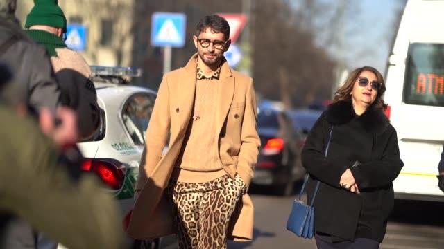 simone marchetti wearing beige wool coat, pants with leo print is seen, during milan menswear fashion week fall/winter 2018/19 on january 13, 2018 in... - menswear stock videos & royalty-free footage