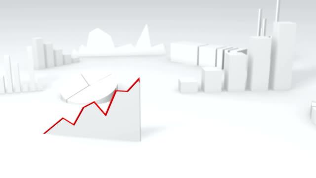 einfache 3d-diagramm zeigt wachstum - liniendiagramm stock-videos und b-roll-filmmaterial