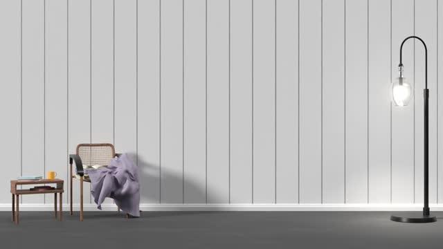 einfacher und moderner wohnraum mit minimalistischen möbeln und einer straßenlaterne in 4k-auflösung - electric lamp stock-videos und b-roll-filmmaterial