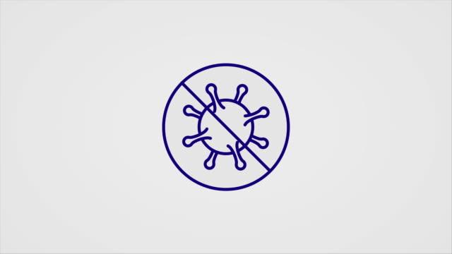 vídeos y material grabado en eventos de stock de iconos de líneas de arte animados simples para los síntomas y prevenciones de la enfermedad de covid-19 - ícono