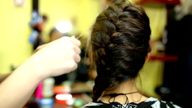 simple braided hairstyle - braided hair stock videos and b-roll footage