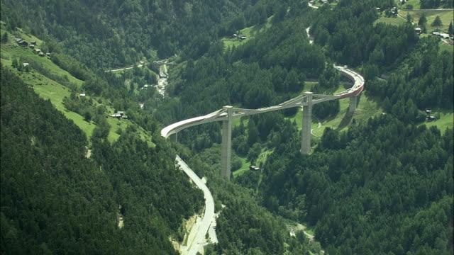 aerial simplon pass bridge, valais, switzerland - woodland stock videos & royalty-free footage