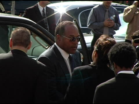 simpson at the funeral of johnnie l cochran, jr arrivals at west angeles cathedral in los angeles, california on april 6, 2005. - johnnie cochran stock videos & royalty-free footage