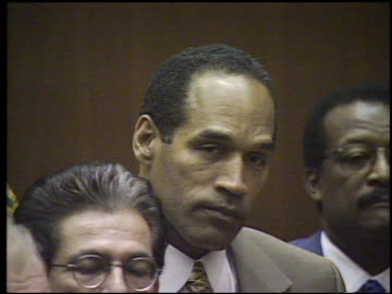 simpson in courtroom as not guilty verdict is read in court / view of families in audience. oj simpson - not guilty verdict is read on october 03,... - legal trial stock videos & royalty-free footage