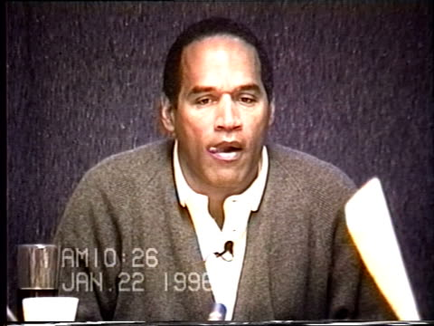 simpson's civil trial deposition 10:25 am 1/22/96 - play by play of the day and letters o.j. wrote prior to fleeing in bronco - bucking stock videos & royalty-free footage