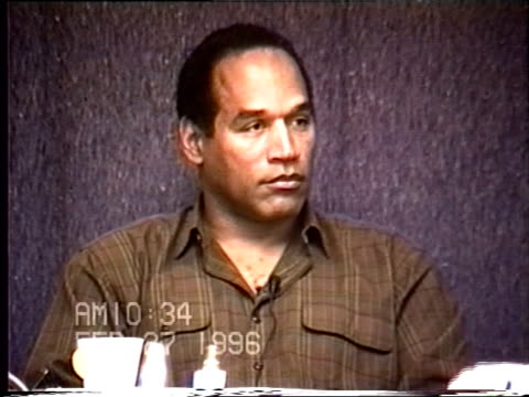 simpson's civil trial deposition 10:33am 2/27/96 - questions about o.j.'s acting career - o・j・シンプソン点の映像素材/bロール