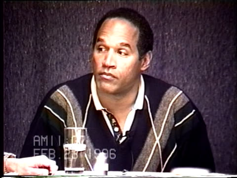 OJ Simpson's civil trial deposition 1105AM 2/23/96 Questions about the divorce proceedings the economic ramifications of divorce and Nicole's affair...